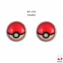 Boucles d'oreilles à puces rondes modèle Pokeball sous dôme en verre