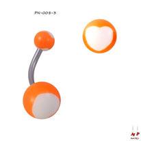 Piercing nombril à boules acryliques oranges et coeurs blancs