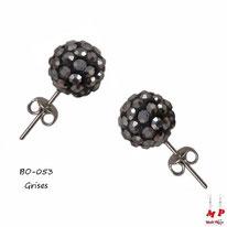 Boucles d'oreilles perles rondes shamballa grises