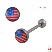 Piercing langue logo drapeau des Etats-Unis en acier chirurgical