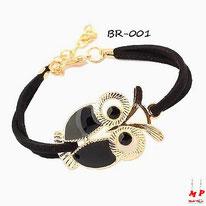 Bracelet hibou noir et doré