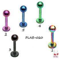 Piercing labret titanium anodisé à boule 5 couleurs disponibles