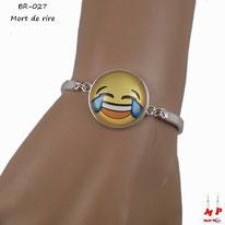 Bracelet emoji mort de rire argenté