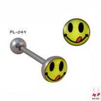 Piercing langue logo smiley jaune qui tire la langue en acier chirurgical