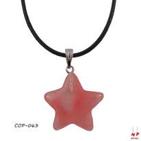 Collier à pendentif étoile en pierre de quartz cerise