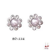 Boucles d'oreilles fleurs à strass et perles nacrées