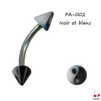 Piercing arcade pointes acrylique yin yang noires et blanches