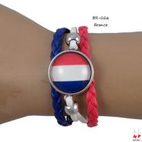 Bracelet drapeau de la France en similicuir