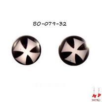 Boucles d'oreilles rondes croix de Malte en acier chirurgical