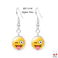 Boucles d'oreilles pendantes à emoji hyper bien