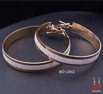 Boucles d'oreilles créoles anneaux dorés et bandes argentées