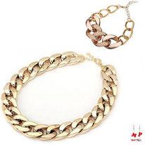 Parure collier et bracelet gros maillons dorés