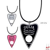 Colliers à pendentifs ouija en forme de coeurs noir, rose ou blanc