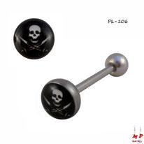 Piercing langue logo pirate noir et blanc en acier inox
