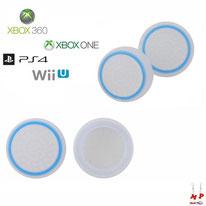 Paire de grips de protection blancs translucides à cercles bleus en silicone pour joysticks de PS4, Xbox 360, Xbox One et Nintendo Wii U