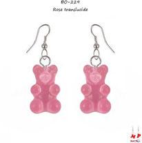 Création de boucles d'oreilles pendantes à oursons roses translucides