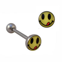 Piercing langue boule plate motif smiley qui tire la langue
