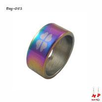 Bague anneau arc-en-ciel trèfles à quatre feuilles en acier inoxydable