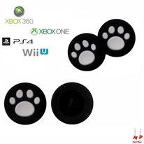 Paire de grips de protection noirs à pattes de chiens blanches en silicone pour joysticks de PS3, PS4, Xbox 360, Xbox One et Nintendo Wii U