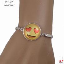 Bracelet argenté tour de poigné à émoji love you