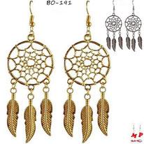 Boucles d'oreilles pendantes attrape rêves dorées ou argentées