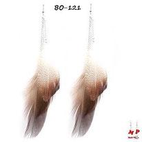 Boucles d'oreilles pendantes plumes d'oiseaux