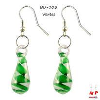 Boucles d'oreilles gouttes d'eau et tourbillon vert en verre pendantes