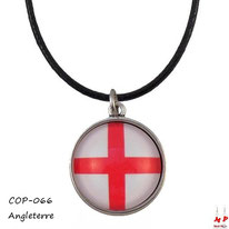 Collier à pendentif rond à drapeau de l'Angleterre en verre