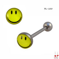 Piercing langue logo smiley jaune en acier inox