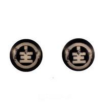 Boucles d'oreilles acier logo Tokio Hotel noir et blanc