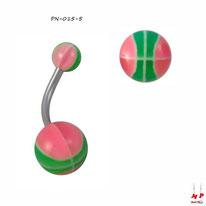 Piercing nombril à boules acryliques ballons de basket roses et verts