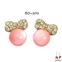 Boucles d'oreilles fantaisie noeus papillons dorés sertis de strass et perles roses