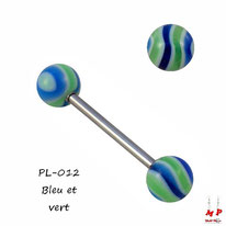 Piercing langue à boules acryliques rayées bleues, blanches et vertes