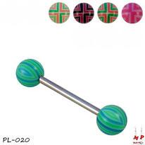 Piercings langue boules acrylique à quadrillages