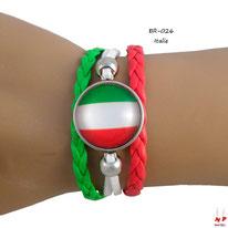 Bracelet drapeau de l'Italie en similicuir