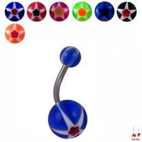 Piercings nombrils à boules acryliques étoiles et fleurs 7 couleurs