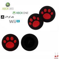 Paire de grips de protection noirs à pattes de chiens rouges en silicone pour joysticks de PS4, Xbox 360, Xbox One et Nintendo Wii U