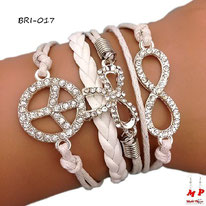 Bracelet infini blanc en similicuir et multi-breloques Peace and love et flot