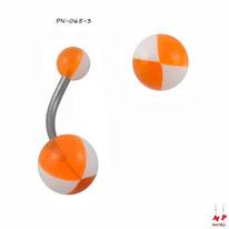 Piercing nombril à boules acryliques ballons de plages bicolores oranges et blancs