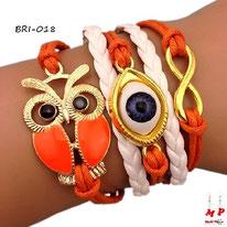 Bracelet infini orange et breloques hibou doré et oeil doré et bleu