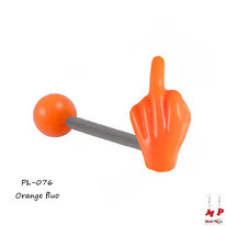 Piercing langue fuck orange fluo en acrylique