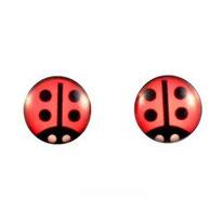 Boucles d'oreilles acier logo coccinelles rouge à points noirs