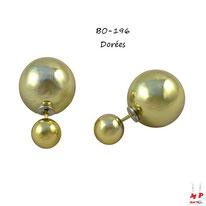Boucles d'oreilles double perles dorées nacrées