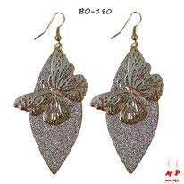 Boucles d'oreilles ovales à paillettes argentées et papillons pendants dorés