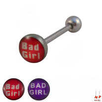 Piercing langue logo Bad girl rouge ou violet en acier inox