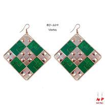 Boucles d'oreilles pendantes carrées à damiers dorés et verts paillettés