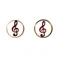 Boucles d'oreilles acier logo note de musique noire sur fond blanc