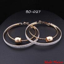 Boucles d'oreilles anneaux dorés à paillettes argentées et perles dorées