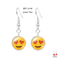 Boucles d'oreilles pendantes emoji love you et coeur