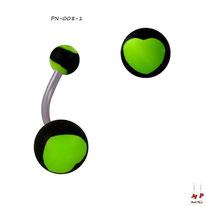 Piericng nombril à boules acryliques motifs coeurs vert fluo et noirs